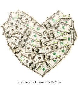 Heart made of hundred dollar banknotes isolated on white background