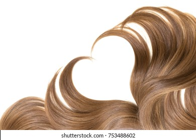 Heart made of natural hair on white background