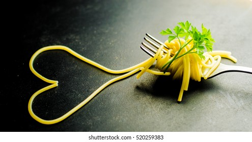 Heart made with pasta