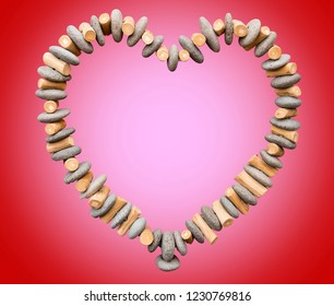 Heart made of Rocks and Wood, red and pink background and empty space for text or image suitable for Valentine's Day.
