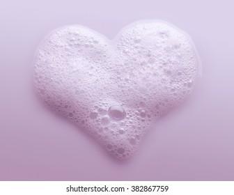 Heart Made from Soap Foam