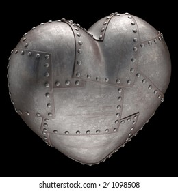 Heart made of steel plates attached with rivets. Clipping path included.