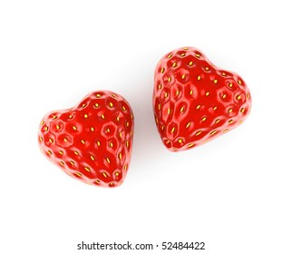 heart made from strawberry isolated on white background