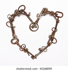 heart made from vintage keys