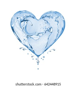 Heart made of water splashes isolated on white background