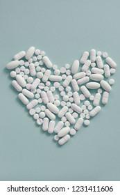 heart made of white pills
