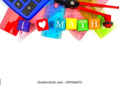 I HEART MATH toy blocks with a math-themed school supplies top border over white