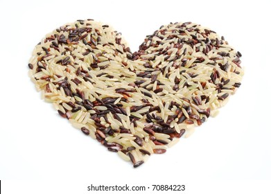 Heart mixed indica rice on white background