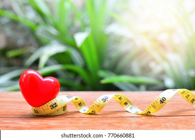 heart model on tape measure for concept health care and loss weight