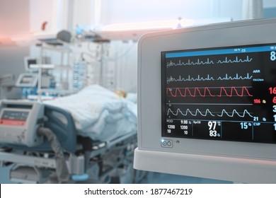 Herzmonitor mit EKG-Linien auf dem Hintergrund kritischer Patienten in der Intensivstation.