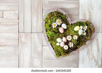 Heart with moss and little spring flowers