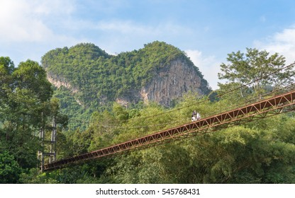 Heart mountain in surat thani,Southen of thailand (green leaf daylight with blue sky)