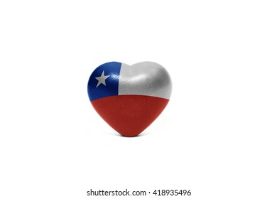 heart with national flag of chile on the white background