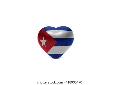 heart with national flag of cuba on the white background
