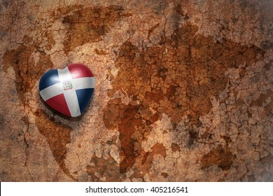 heart with national flag of dominican republic on a vintage world map crack paper background. concept