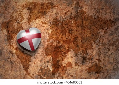 heart with national flag of england on a vintage world map crack paper background. concept
