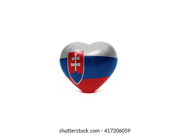 heart with national flag of slovakia on the white background