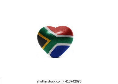 heart with national flag of south africa on the white background