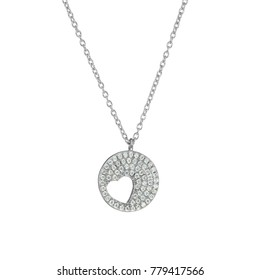 Heart necklace with diamond jeweled