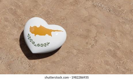 Heart on the beach with Cyprus flag