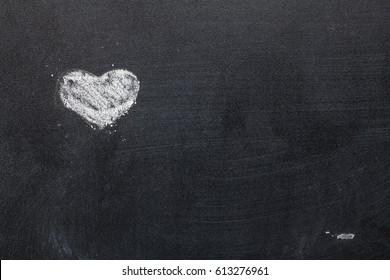 Heart on black board