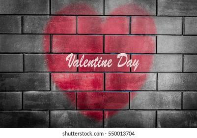 Heart on Black brick wall, Valentine day.