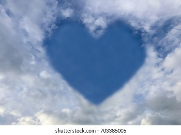 Heart on the blue sky background.