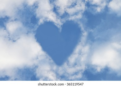 Heart on the blue sky, Valentine day background
