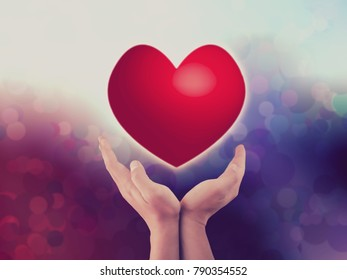 heart on hands shape for Valentine day