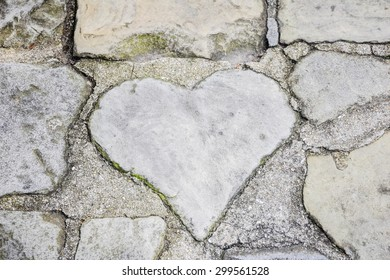 heart on old  stone background