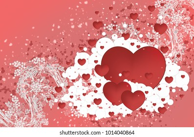 Heart on a red background with patterns of flowers