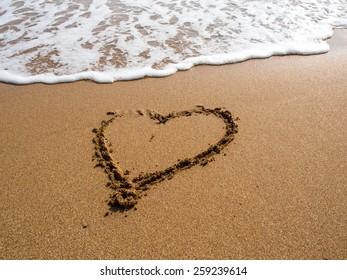 Heart on the sand beach.