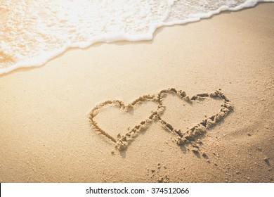 Heart on a sea beach