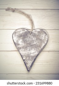 heart on wooden background , christmas heart