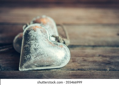 Heart ornament on rustic background