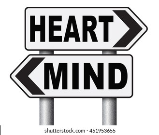 heart over mind follow your instinct and gut feeling or intuition insight 3D illustration, isolated, on white