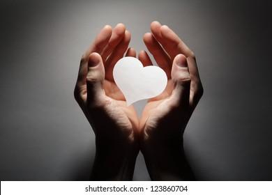 Heart in palm
