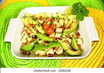 Heart of palm and avocado salad with cherry tomatoes