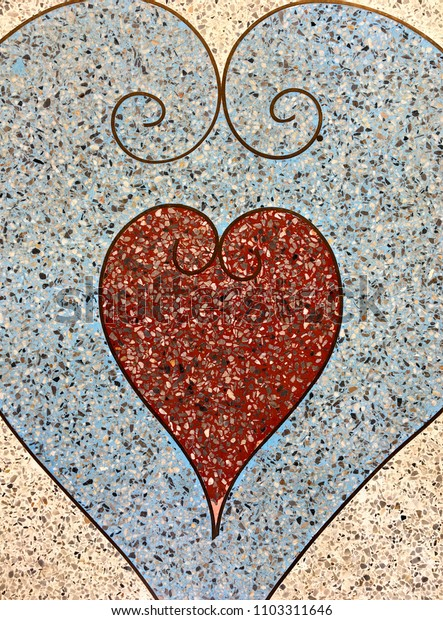Heart pattern on polished stone texture,terrazzo background
