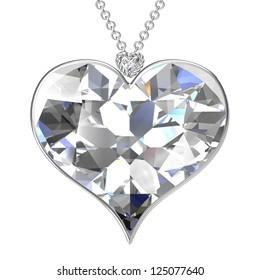 Heart pendant on white background.