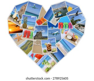 Heart from photos on summer vacation, beach, holiday, drinks and traveling