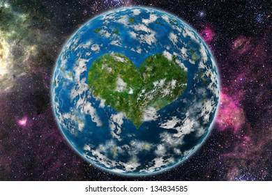 Heart planet. Elements of this image furnished by NASA