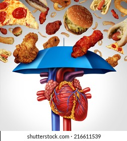 Heart protection medical concept as a symbol to avoid a clogged artery and atherosclerosis disease  as a blue umbrella protecting the cardiovascular organ from unhealthy food to stop plaque buildup.