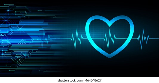Heart pulse monitor with signal. Heart beat. illustration. dark blue background