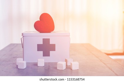 Heart put on medicine box in vintage style.