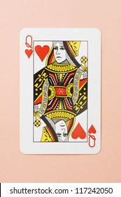 heart queen of playing card on white background