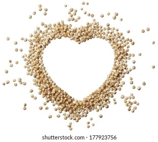 Heart of quinoa grain isolated on a white background