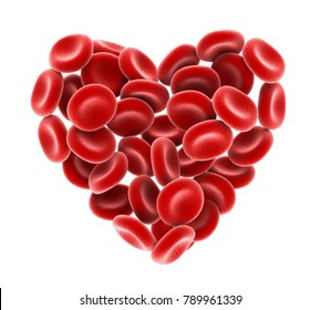 Heart of Red Blood Cells Isolated. 3D rendering