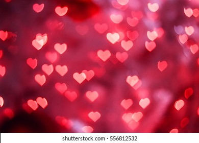 Heart red bokeh background, Valentine day Love concept