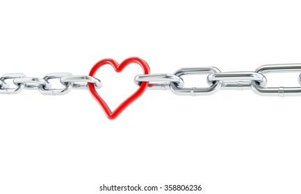 Heart red chain. 3d Illustrations on a white background